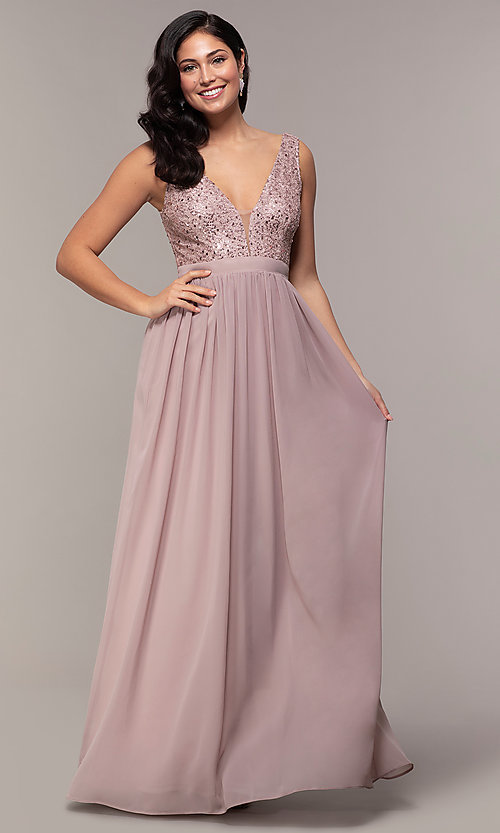 Image of long sequin-lace-bodice prom dress by PromGirl. Style: LP-PL-24017-1 Front Image