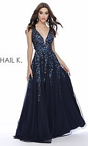 Image of long Shail K a-line v-neck prom dress. Style: SK-12207 Detail Image 2