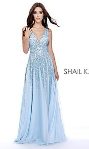 Image of long Shail K a-line v-neck prom dress. Style: SK-12207 Front Image