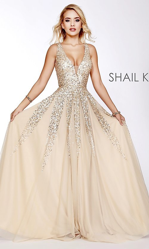Image of long Shail K a-line v-neck prom dress. Style: SK-12207 Detail Image 1