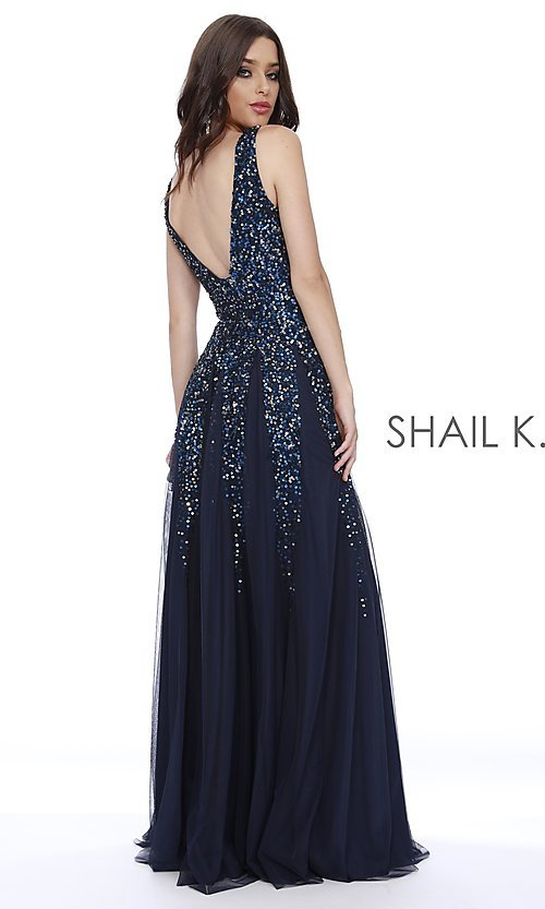 Image of long Shail K a-line v-neck prom dress. Style: SK-12207 Back Image
