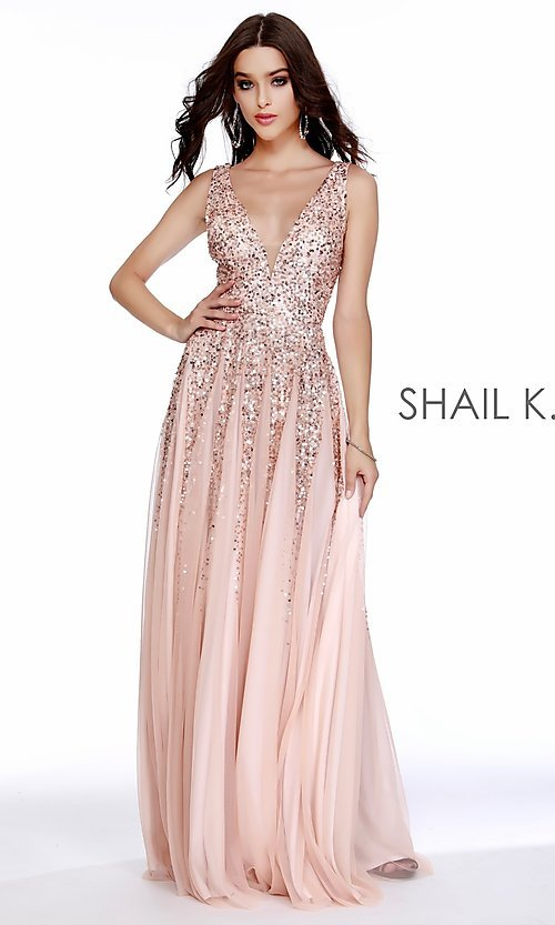 Image of long Shail K a-line v-neck prom dress. Style: SK-12207 Detail Image 5