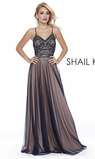 Long V-Neck Prom Dress with Criss-Crossing Straps