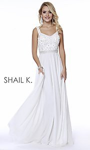 Image of long v-neck a-line formal prom dress by Shail K. Style: SK-12213 Detail Image 2