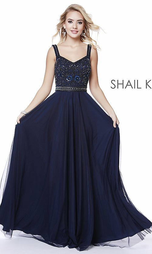 Image of long v-neck a-line formal prom dress by Shail K. Style: SK-12213 Detail Image 5