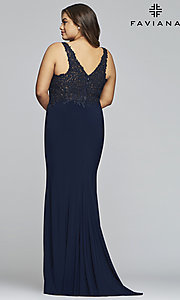 Image of plus-size Faviana long formal prom dress with slit. Style: FA-9463 Detail Image 5