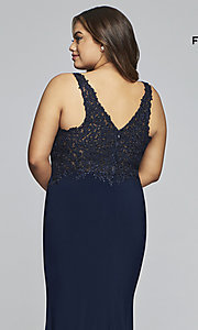 Image of plus-size Faviana long formal prom dress with slit. Style: FA-9463 Detail Image 7