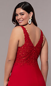 Image of plus-size Faviana long formal prom dress with slit. Style: FA-9463 Detail Image 2