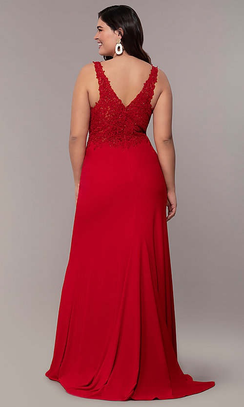 Image of plus-size Faviana long formal prom dress with slit. Style: FA-9463 Back Image