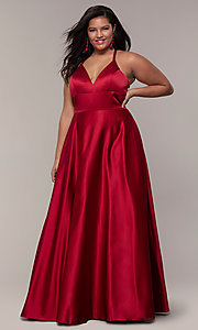 Image of a-line satin plus-size prom dress with corset. Style: FA-9466 Front Image