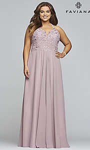 Image of mauve pink Faviana plus-size formal prom dress. Style: FA-9445 Front Image