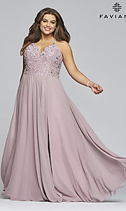 Image of mauve pink Faviana plus-size formal prom dress. Style: FA-9445 Detail Image 3
