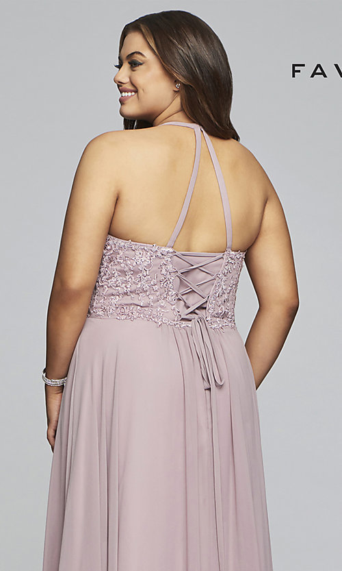 Image of mauve pink Faviana plus-size formal prom dress. Style: FA-9445 Detail Image 2