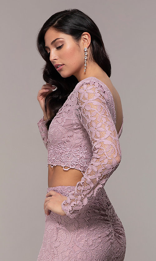 Image of two-piece long-sleeve lace prom dress by PromGirl. Style: LP-PL-90044-1 Detail Image 1