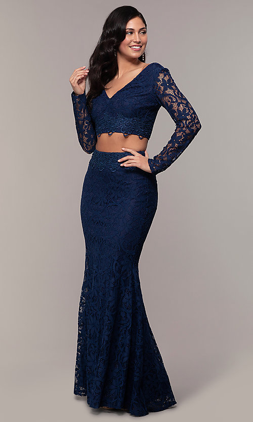 Image of two-piece long-sleeve lace prom dress by PromGirl. Style: LP-PL-90044-1 Detail Image 3