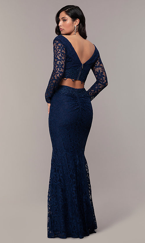Image of two-piece long-sleeve lace prom dress by PromGirl. Style: LP-PL-90044-1 Detail Image 4