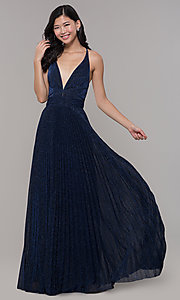 Image of long glitter navy blue prom dress by PromGirl. Style: LP-PL-25801 Front Image