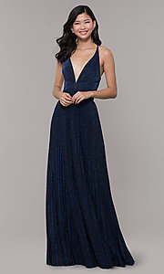 Image of long glitter navy blue prom dress by PromGirl. Style: LP-PL-25801 Detail Image 3