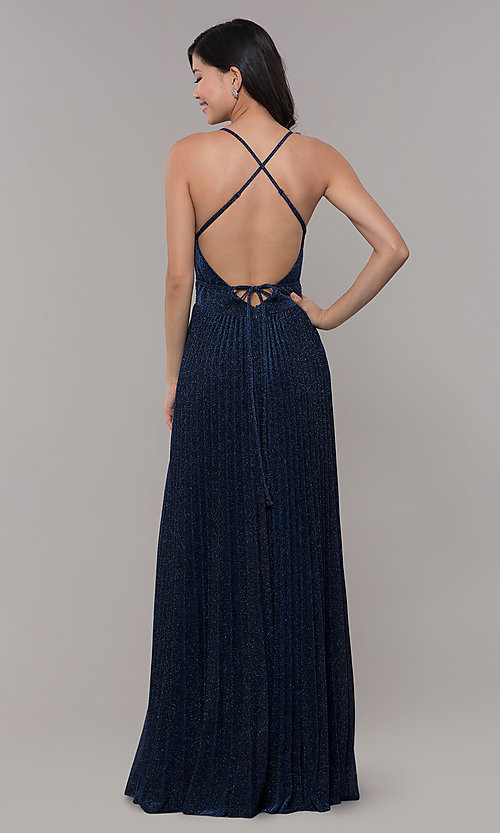 Image of long glitter navy blue prom dress by PromGirl. Style: LP-PL-25801 Back Image