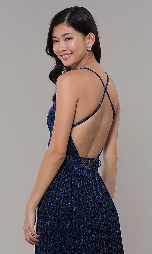 Image of long glitter navy blue prom dress by PromGirl. Style: LP-PL-25801 Detail Image 2