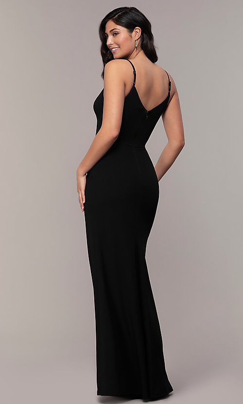 Image of lace-trimmed v-neck long prom dress by Simply. Style: LP-SD-27861 Back Image
