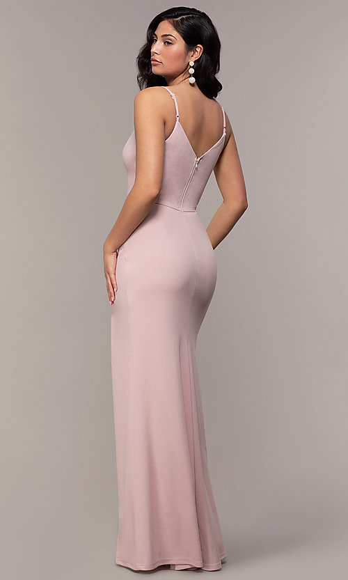 Image of lace-trimmed v-neck long prom dress by Simply. Style: LP-SD-27861 Detail Image 5