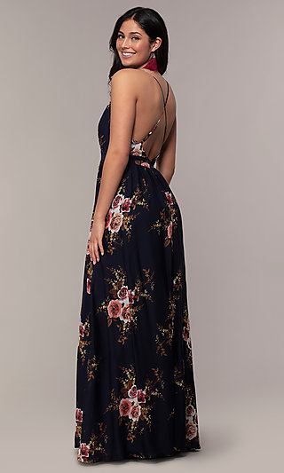 Plunging-V-Neck Floral-Print Prom Dress by Simply