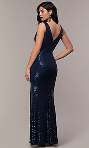 Image of striped sequin long v-neck prom dress by Simply. Style: LP-SD-26114 Detail Image 5