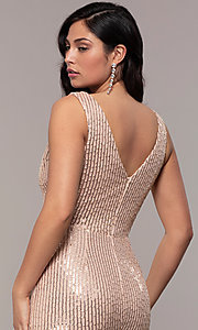 Image of striped sequin long v-neck prom dress by Simply. Style: LP-SD-26114 Detail Image 2