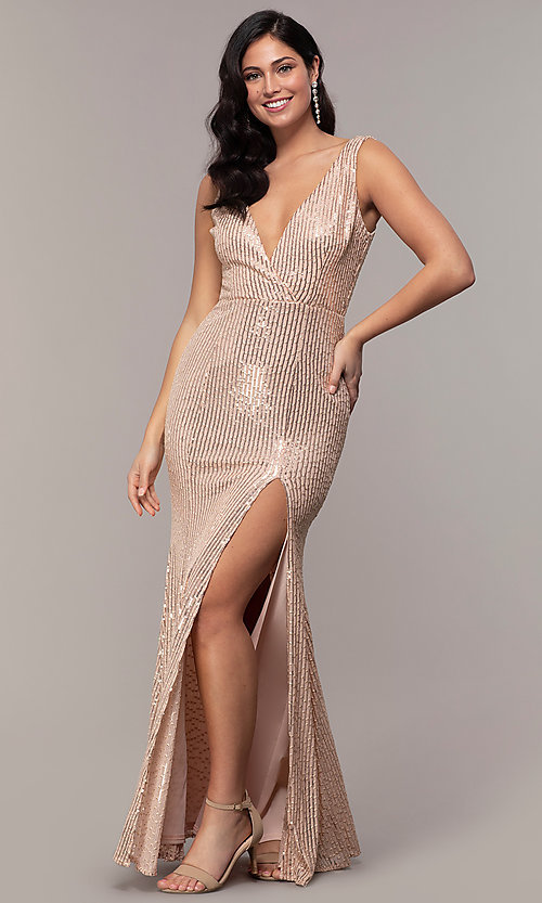 Image of striped sequin long v-neck prom dress by Simply. Style: LP-SD-26114 Back Image