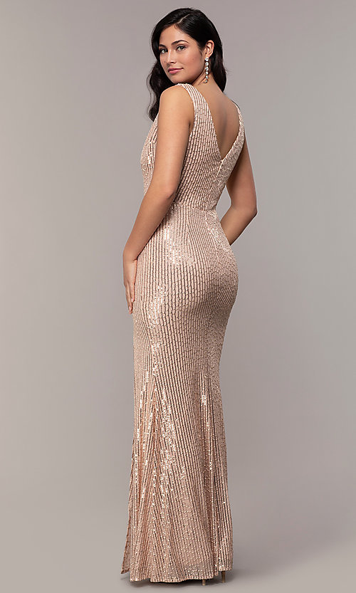 Image of striped sequin long v-neck prom dress by Simply. Style: LP-SD-26114 Front Image