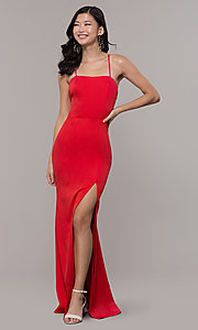 Image of long sleeveless corset-back prom dress by Simply. Style: LP-SD-27604 Detail Image 6