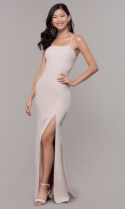 Image of long sleeveless corset-back prom dress by Simply. Style: LP-SD-27604 Front Image