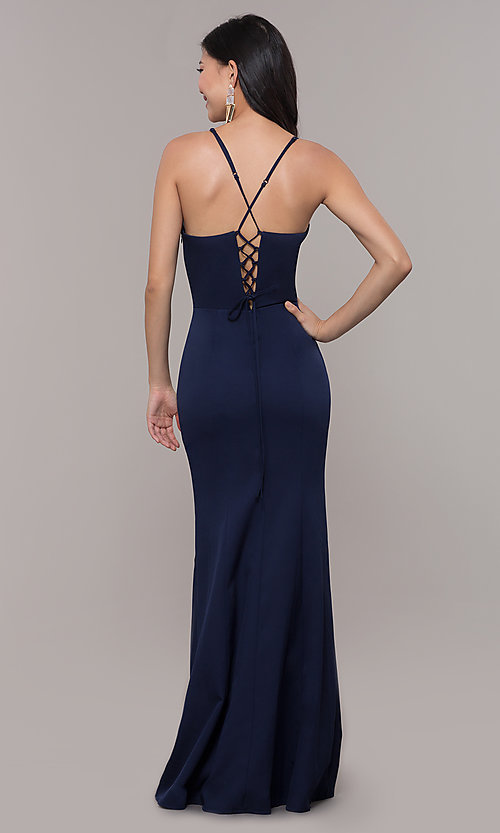 Image of long sleeveless corset-back prom dress by Simply. Style: LP-SD-27604 Detail Image 2