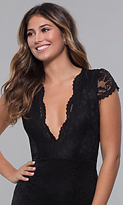 Image of v-neck long short-sleeve lace formal prom dress. Style: CL-46421m Detail Image 1