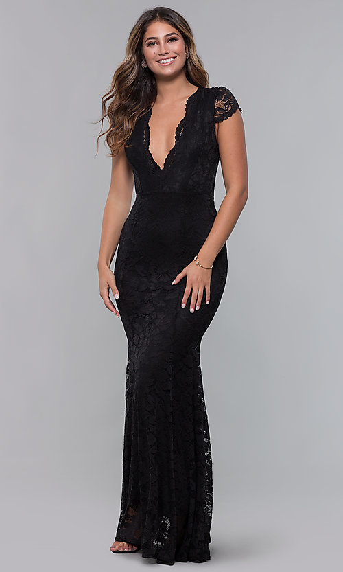 Image of v-neck long short-sleeve lace formal prom dress. Style: CL-46421m Front Image
