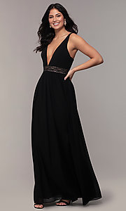 Image of long caged-open-back v-neck prom dress by Simply. Style: LP-SD-25847 Front Image
