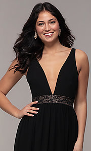 Image of long caged-open-back v-neck prom dress by Simply. Style: LP-SD-25847 Detail Image 1