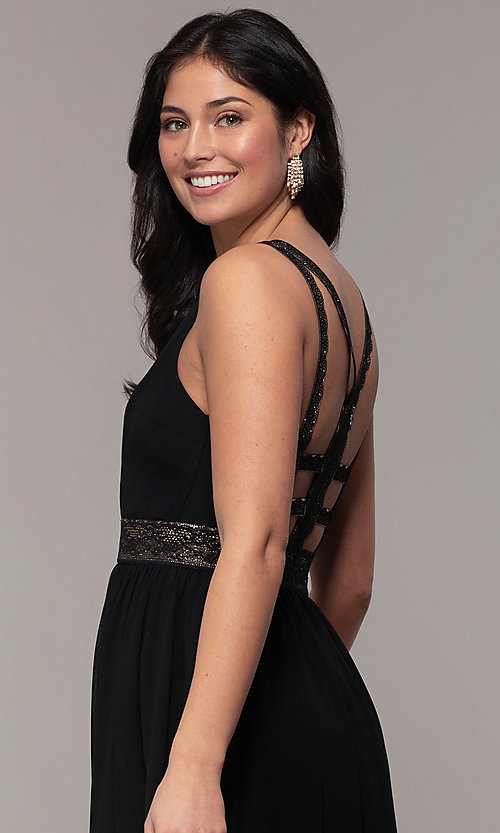 Image of long caged-open-back v-neck prom dress by Simply. Style: LP-SD-25847 Detail Image 2