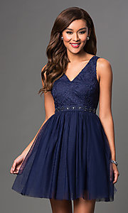 Image of short a-line v-neck tulle homecoming dress. Style: LP-23005m Detail Image 1