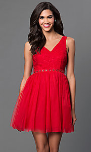 Image of short a-line v-neck tulle homecoming dress. Style: LP-23005m Front Image