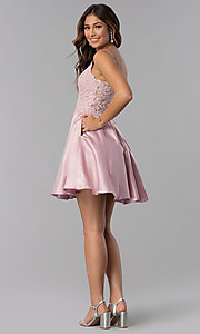 Image of dusty rose pink short homecoming dress with lace. Style: DQ-3037dr Detail Image 2