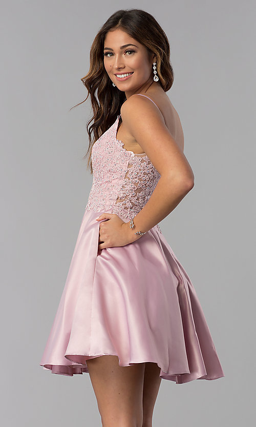Image of dusty rose pink short homecoming dress with lace. Style: DQ-3037dr Front Image