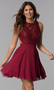 Image of embroidered-bodice mocha purple homecoming dress. Style: DQ-PL-3012m Detail Image 1