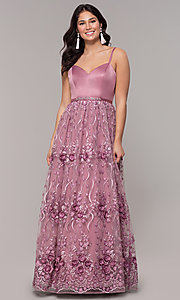 Image of long mauve sweetheart embroidered-skirt prom dress. Style: CT-5752VM3CTP Detail Image 3
