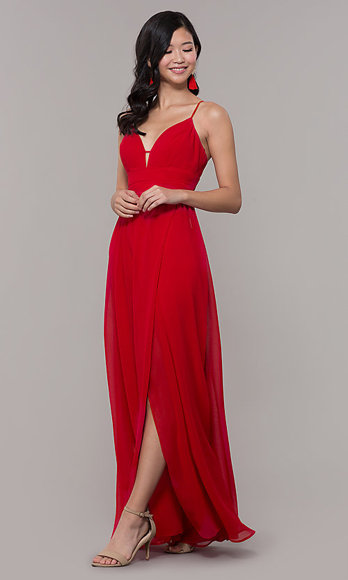 Image of long strawberry red v-neck prom dress. Style: CT-9560WJ1ATP Front Image