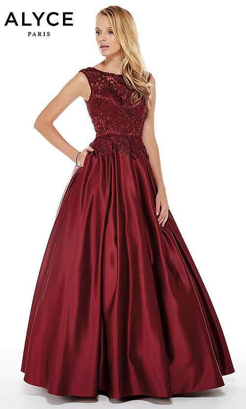 Image of long ball-gown-style Alyce prom dress with pockets. Style: AL-27010 Front Image