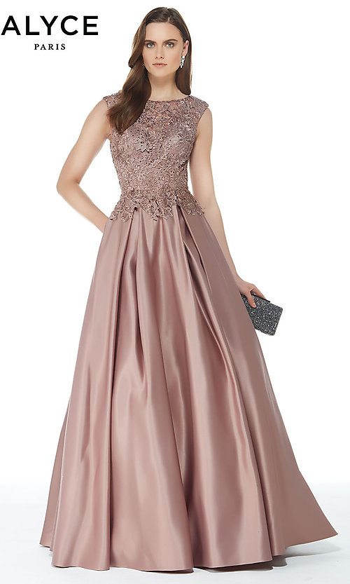 Image of long ball-gown-style Alyce prom dress with pockets. Style: AL-27010 Detail Image 3