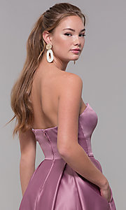 Image of strapless long sweetheart satin prom dress. Style: SS-X39603QB4 Detail Image 2