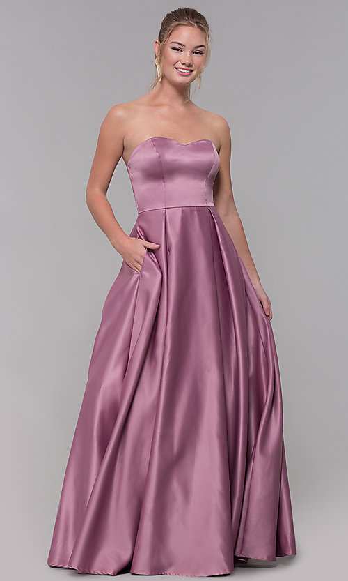 Image of strapless long sweetheart satin prom dress. Style: SS-X39603QB4 Front Image
